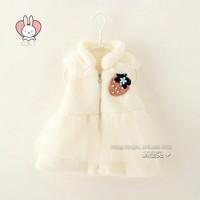 Fashion autumn winter baby girl vest pink white cotton lapel lace strawberry thick vest kids girls vest children vests 4pcs/lot