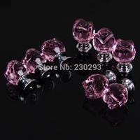 9PCS 20mm Pink Rose Flower Glass Kitchen Pulls Handles Drawer Pulls Knobs Kitchen Cabinets Crystal Drawer Knobs Furniture Handle