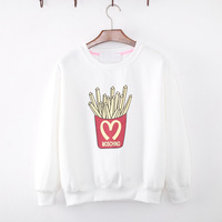 [Amy] new 2014 Autumn and winter new style women hoodies French fries fleece warm sweatshirts 2color 918M