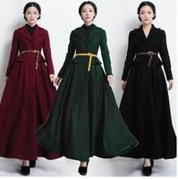 Super Fashionable Extra Long Belted Woolen Women's Jacket, Ultra Long Trendy Ruffle Waist Wool Overcoat