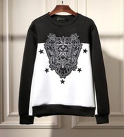 New neoprene sweatshirts men brand runway oversizes hoodies patchwork vintage stars embroidery structred sweatshirt Nora60600