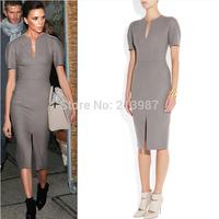 2014 Autumn new design women vestidos grey V-neck short sleeve women office dress slim hip back long zipper plus size dress