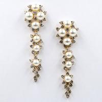 New arrive 2014  women fashion earrings design long crysta pearl statement stud Earrings for women jewelry wholesale