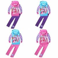 wholesale 2014 autumn new cartoon clothing set my little pony girls Cotton Princess long sleeve Coat + Leggings 9085