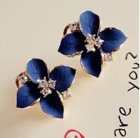 New fashion European Statement Jewelry Matte drops of oil camellia Rinestones Lover's Women Stud Earrings