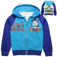 2014 new autumn boy cartoon children's long-sleeved hooded jacket boys jacket D6025 sky blue sweater free shipping