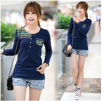 Free shipping fashion new fashion women clothes 2014 long sleeve shirt women striped slim t shirt women