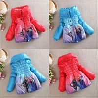 Wholesale 4pc/lot Frozen Downs Parka Kids Frozen Coats Girls Princess Winter Warm Coat Girls Outerwear 2 Color