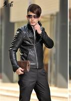 2014 Autumn Winter Male Leather Jacket Fashion Men Blazer High Quality PU Slim Men Outwear Male Clothes Free shipping