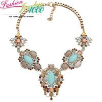 Individual Rhinestone Mint Green Stone Flower Necklace Fashion Vintge Chunky Statement Choker Jewelry for Women Girl Dress Party