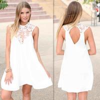 2014 summer dresses plus size casual lace patchwork chiffon dress nova moda vestido de renda branca feminino