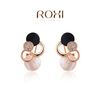 Roxi брендовые женские сережки ручной работы, изготовлены из розового золота (позолота), с трех разовым золотым напылением, серьги в формы кругов, украшены австрийскими кристаллами, длина 2.7
