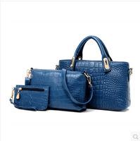 The new three-piece European and American fashion handbags shoulder diagonal soft surface tide crocodile bag B14127