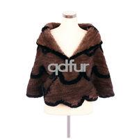 Handmade Winter Ladies' Genuine Natural Knitted Mink Fur Ponchos Shawl Women's Wedding Bridal Wraps Coat Jacket QD30486