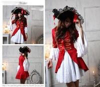 Free shipping Sexy classic Lace Halloween pirate Cosplay Costume Hat Carnival Lady Witch Game Uniform Fancy Dress red white