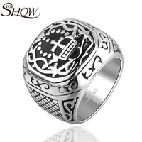 Fashion Cross finger ring Gothic vintage punk rings Rock Biker 316L stainless steel men jewelry accessories free shipping R21