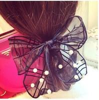 Baby Girl Women Hair bands accessories Pearls Rabbit Ear Elastic Ties Ponytail Holder Ponies Holder