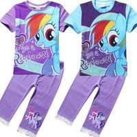 new 2014 autumn cartoon clothing set girls My little pony short sleeve t shirt+lace leggings Children clothing