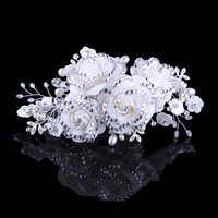 Korean version full crystal fashion luxury crepe roses flower bridal hair accessories party headdress white red purple