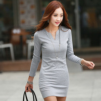 New 2014 Solid Brand Autumn long-sleeved Deep V-neck Wome Dress Silm bottom Dress   XXXL