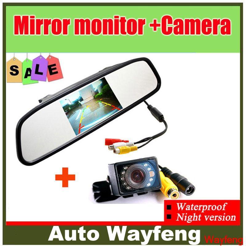 Free Shipping, Auto Parking Camera Monitors System, IR Night Vision Rear View Camera With 4.3 inch LCD Car Mirror Monitor(China (Mainland))