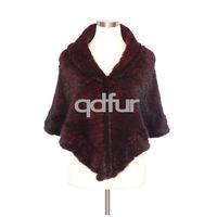 Winter Ladies' Genuine Natural Knitted Mink Fur Ponchos Shawl Women's Warm Stole Wraps Coat Outerwear QD30485
