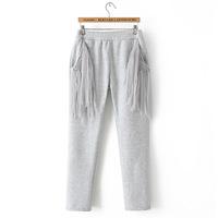 Free shipping new solid color tassel pocket elastic waist fleece pants women long Harem trousers