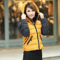 Down & Parkas 2014 women coat hooded dot print winter autumn slim outwear  jacket