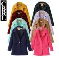 woman cardigan 2014 winter lining trench coat medium-long thin cashmere coat fur coat jacket women Free Shipping