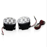 2PCS Super Bright 9W LED Round Day Fog Light LED Universal Auto Car Front Head Light Lamp DRL Daytime Running Lights