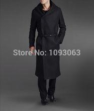 Retro Vintage Men's Woolen Hooded Trench Coat Cloak Overcoat Jacket Wool Outerwear Winter Black(China (Mainland))