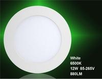 12W AC85-265V 880LM 6500K White Round LED Panel Light (White)