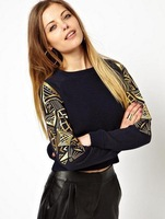 Fashion women gold embroidery  patchwork  long sleeve sweater