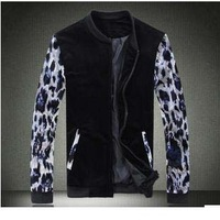 Man spring 2014winter jacket men sportswear clothing outdoors leopard coat male plus size fashion o-neck long sleeve black D458