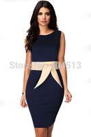 European Women's new belt design back zipper champagne dark blue round neck sleeveless dress 6693 free shipping