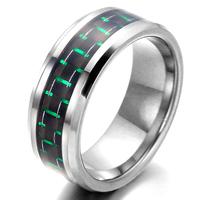 Tungsten Men's Ring, Carbon Fiber, Green, Silver