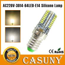 Новое поступление 6 шт./лот мини e14 из светодиодов лампы из светодиодов e14 220 В 7 Вт 64 шт. из светодиодов smd 3014 силикон тело света теплый белый заменить галогенные лампы(China (Mainland))