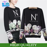 New 2014 Fashion Striped Pullover 3D Flower Pattern Letter Printed Autumn Sweatshirt Hoodies Long Sleeve Tracksuits Women Hoody