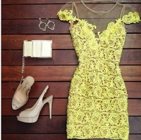 2014 Summer Hot Sell High Quality Yellow Lace Rose Embroidery Slim O-neck Mini Dress Sexy Women Dress