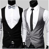 2014 Spring New Fashion Suit Vests Black Gray V-Neck Slim Vest Men's Vest Free Shipping