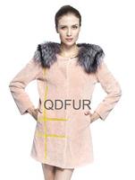 2014 Ladies' Genuine Wool Fur Coat Jacket Fox Fur Neck Winter Women Fur Outerewear Coats Overcoat QD70833