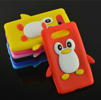 1pcs New Cute Cartoon Soft Silicone Penguin Protective Cover Case for Nokia Lumia 820