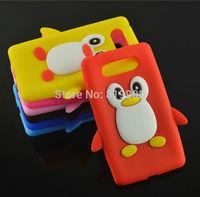 1pcs New Cute Cartoon Soft Silicone Penguin Protective Cover Case for Nokia Lumia 820