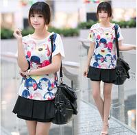 Drop shipping new fashion summer women's clothes chiffon short sleeve o-neck Korean fashion printed tshirt women