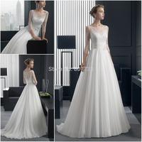 CY3634 Illusion Neckline Three Quarters Lace A Line 2015 Beach Wedding Dresses for Bride Chiffon White