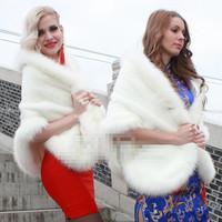 Luxury Winter Thicken Fur Wedding Jacket Vestido De Noiva Bolero Ivory Color scarf4