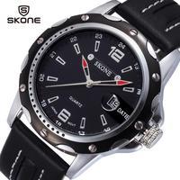 New 2014 men watch luxury brand watch leather strap Japan quartz  date calender hardlex analog