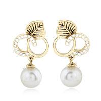 Fashion Vintage Silver Leaf Stud Earrings Pearl Pendant Brincos Grandes De Festa Jewelry for Women Pendientes Accessories