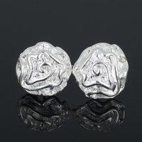 New Fashion Wholesale 1Pair Women Silver Rose Flower Ear Stud Earrings Jewelry Silver Christmas Gift