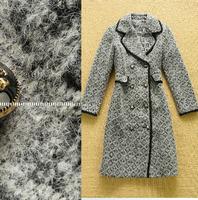 New Brand Runway Plus Size Wool Blends Coat Winter Women's Woolen Trench Coat 2014 New Long Sleeve Double Breasted Overcoat Grey